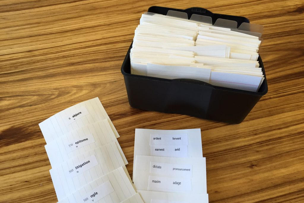森本さんが使用していた単語カード
