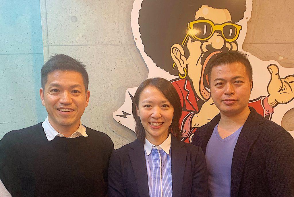 左から順に、キャタル代表三石、株式会社ヒュープロ 代表取締役 山本 玲奈さん、株式会社キープレイヤーズ代表取締役社長 高野秀敏さん